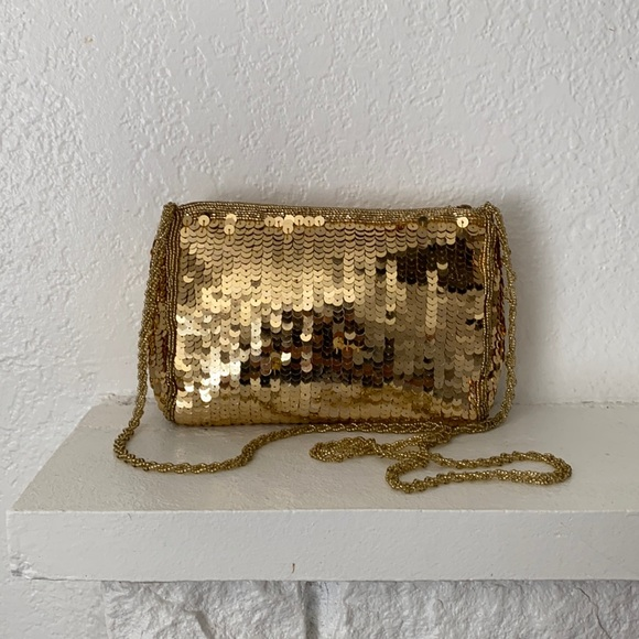Vintage 70s gold sequin beaded crossbody party bag